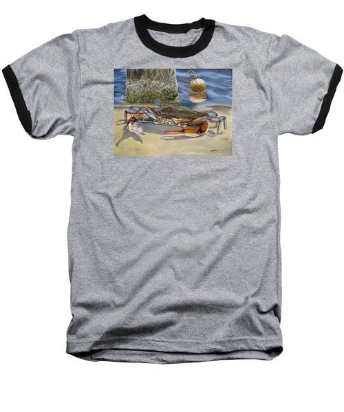 Baseball T-Shirt featuring the painting Crab On The Shoreline by Phyllis Beiser