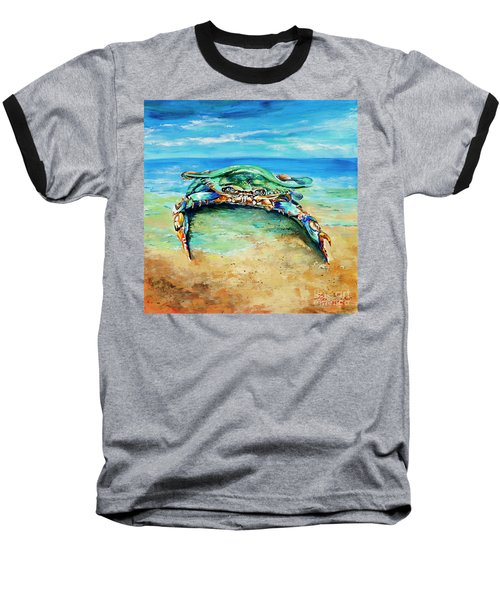 Baseball T-Shirt featuring the painting Crabby At The Beach by Dianne Parks