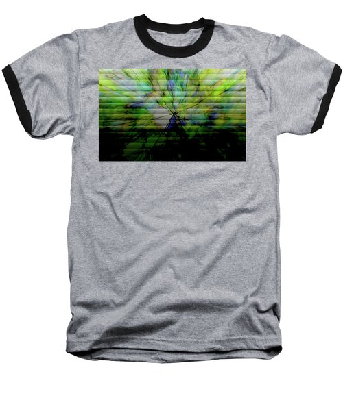 Cracked Abstract Green Baseball T-Shirt by Carol Crisafi