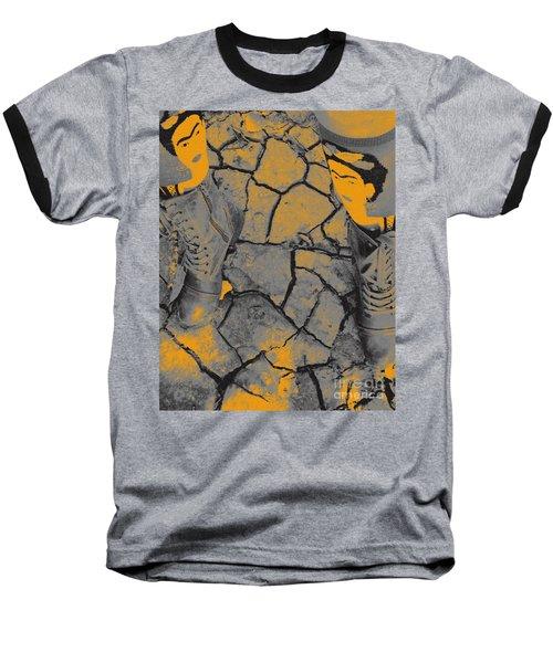 Cracked Earth With Frieda Khalo. Baseball T-Shirt