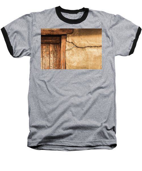 Cracked Lime Stone Wall And Detail Of An Old Wooden Door Baseball T-Shirt by Semmick Photo