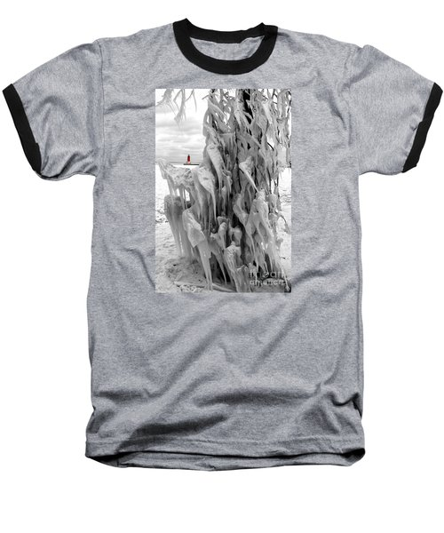 Baseball T-Shirt featuring the photograph Cradled In Ice - Menominee North Pier Lighthouse by Mark J Seefeldt