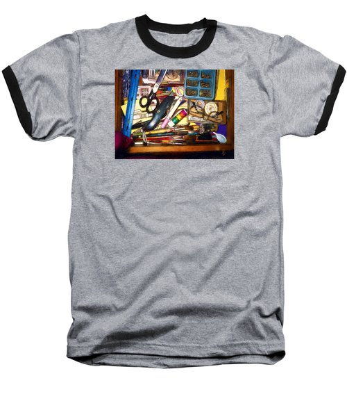Craft Drawer Clutter Baseball T-Shirt by Ric Darrell