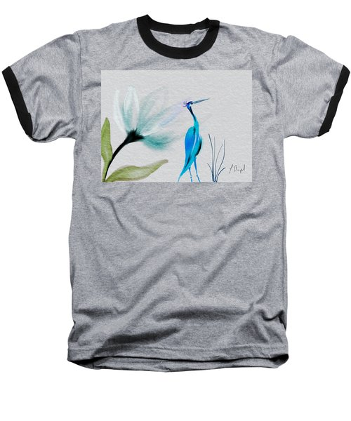 Crane And Flower Abstract Baseball T-Shirt by Frank Bright