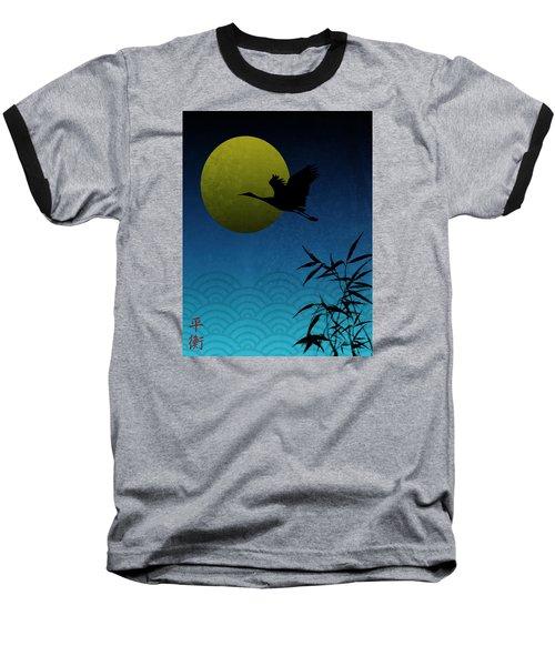 Crane And Yellow Moon Baseball T-Shirt