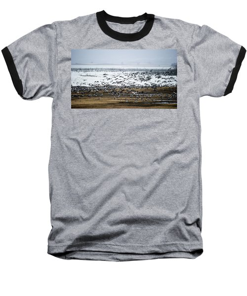 Baseball T-Shirt featuring the photograph Crane Dance by Torbjorn Swenelius