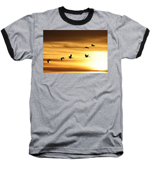 Baseball T-Shirt featuring the photograph Cranes At Sunrise 2 by Larry Ricker