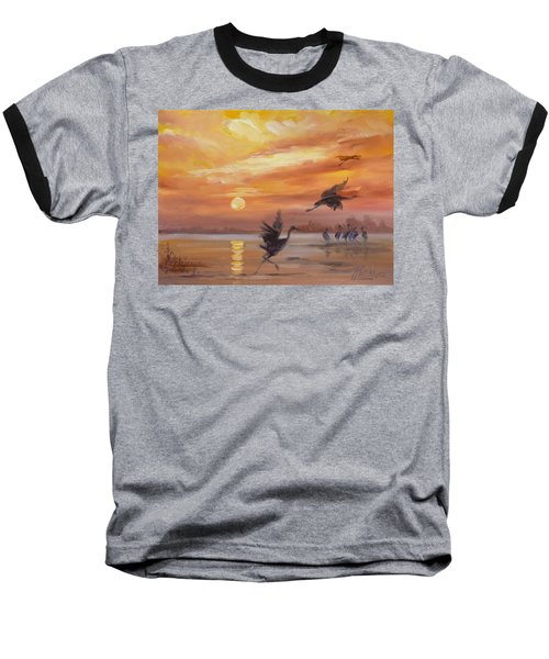 Cranes - Golden Sunset Baseball T-Shirt by Irek Szelag