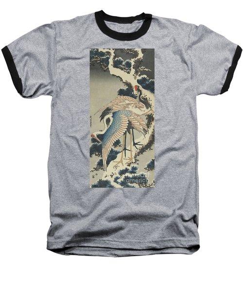 Cranes On Pine Baseball T-Shirt by Hokusai