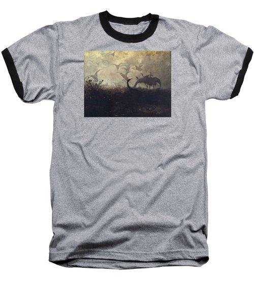Cranes Take Off Baseball T-Shirt by Jozef Marian Chelmonski