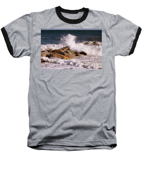 Crashing Surf On Plum Island Baseball T-Shirt by Eunice Miller