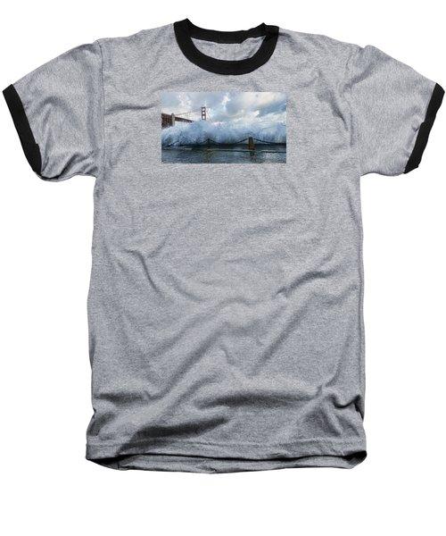 Baseball T-Shirt featuring the photograph Crashing Wave Golden Gate Bridge King Tide by Steve Siri