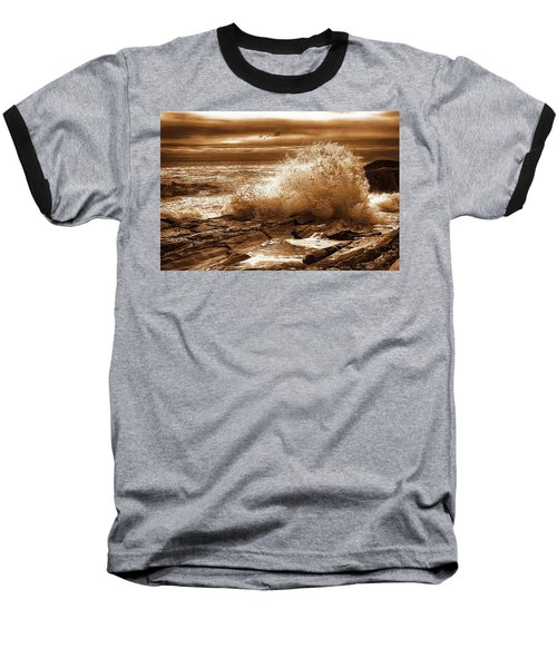 Crashing Wave Hdr Golden Glow Baseball T-Shirt by Sherman Perry