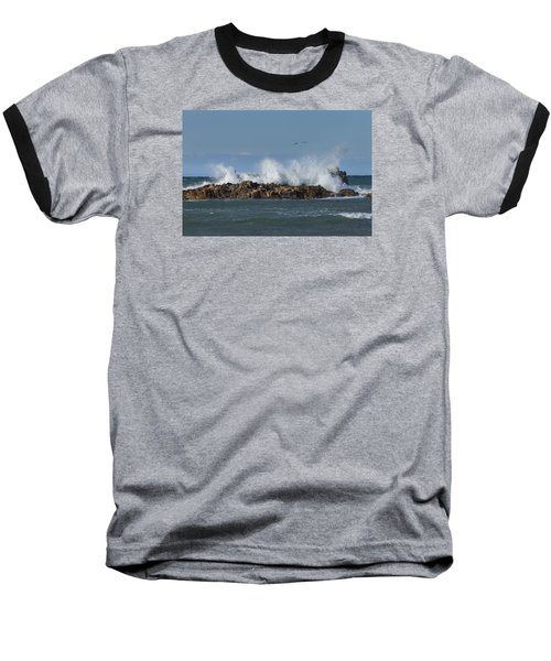 Crashing Waves And Gulls Baseball T-Shirt