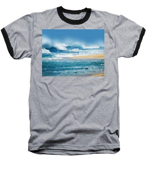 Baseball T-Shirt featuring the digital art Crashing Waves by Anthony Fishburne