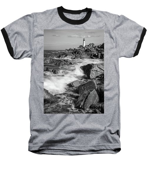 Crashing Waves, Portland Head Light, Cape Elizabeth, Maine  -5605 Baseball T-Shirt by John Bald