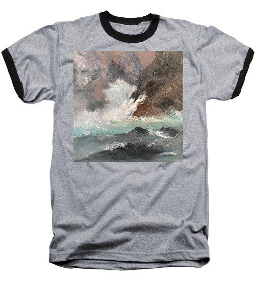 Crashing Waves Seascape Art Baseball T-Shirt by Michele Carter