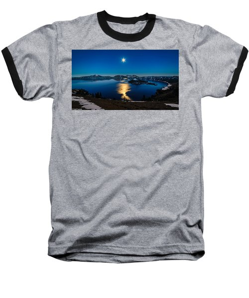 Crater Lake Moonlight Baseball T-Shirt