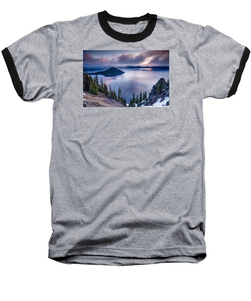 Crater Lake Spring Morning Colors Baseball T-Shirt