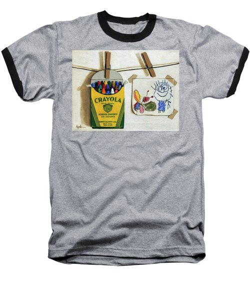 Baseball T-Shirt featuring the painting Crayola Crayons And Drawing Realistic Still Life Painting by Linda Apple