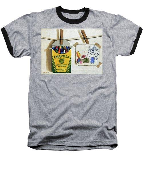 Box Of Crayons And Child's Drawing Realistic Still Life Painting Baseball T-Shirt