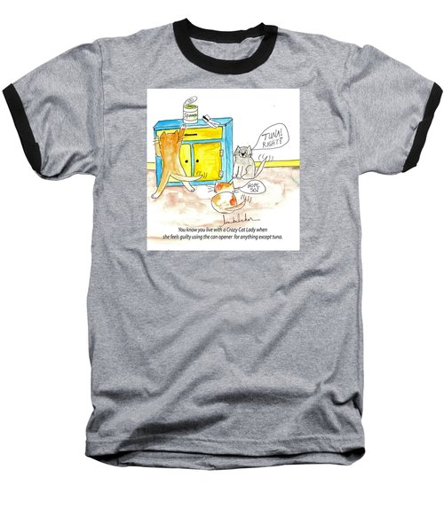 Baseball T-Shirt featuring the painting Crazy Cat Lade 0008 by Lou Belcher