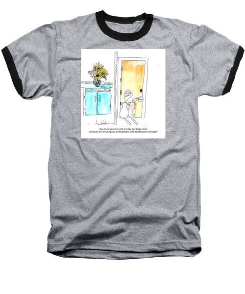 Baseball T-Shirt featuring the painting Crazy Cat Lady 0002 by Lou Belcher