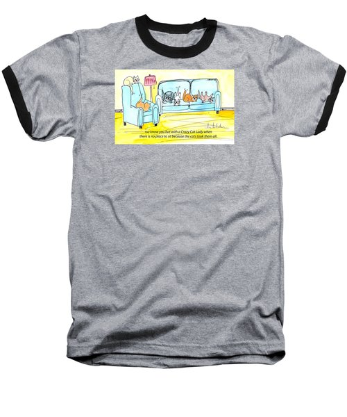 Baseball T-Shirt featuring the painting Crazy Cat Lady 0004 by Lou Belcher