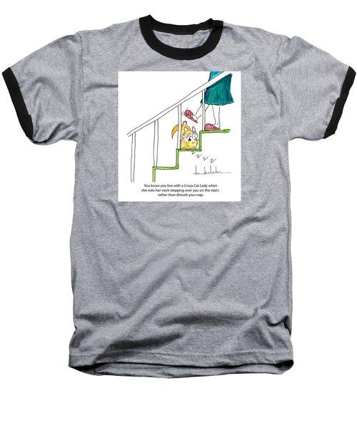 Crazy Cat Lady 0006 Baseball T-Shirt by Lou Belcher