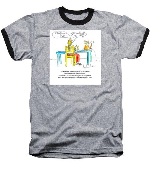 Crazy Cat Lady 0009 Baseball T-Shirt by Lou Belcher