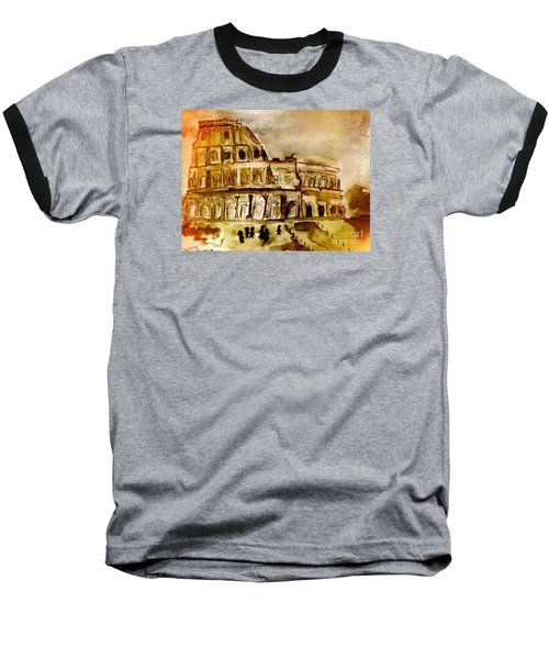 Baseball T-Shirt featuring the painting Crazy Colosseum by Denise Tomasura