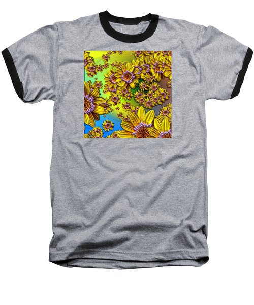 Crazy Daisies Baseball T-Shirt by Nick Kloepping