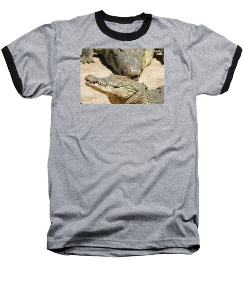 Baseball T-Shirt featuring the photograph Crazy Saltwater Crocodile by Gary Crockett