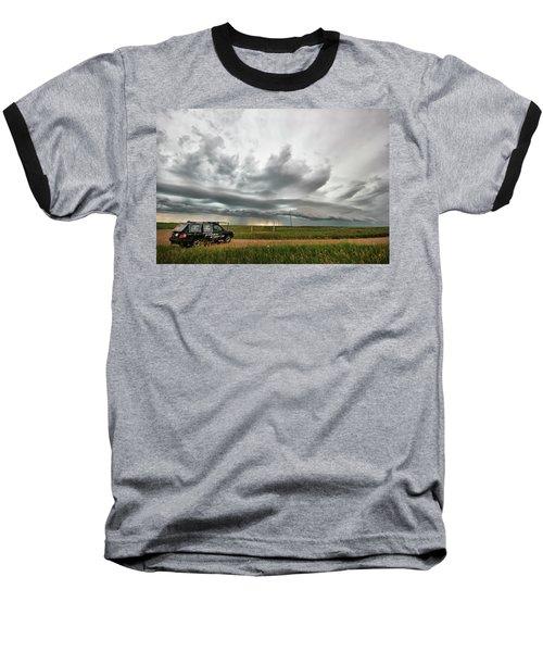 Crazy Shelf Cloud Near Ponteix Sk. Baseball T-Shirt by Ryan Crouse