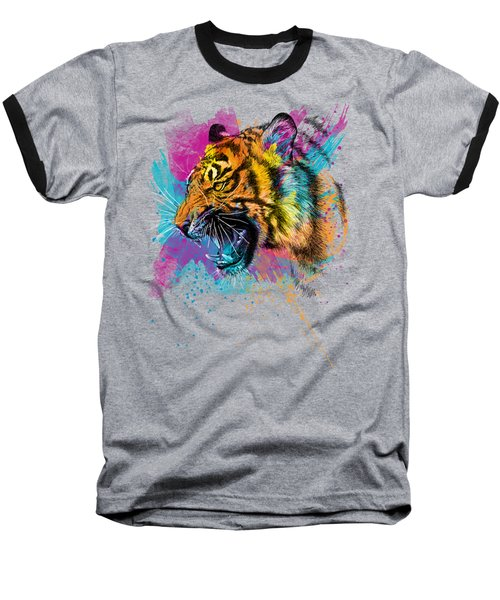 Crazy Tiger Baseball T-Shirt by Olga Shvartsur