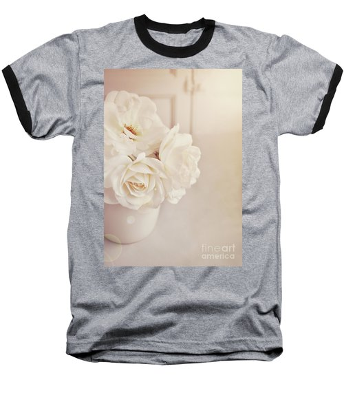 Baseball T-Shirt featuring the photograph Cream Roses In Vase by Lyn Randle