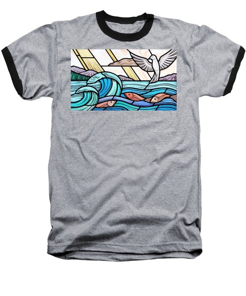 Creation Of The Sea And Sky Baseball T-Shirt by Gilroy Stained Glass