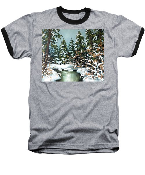 Creek, Winter, Snow Baseball T-Shirt