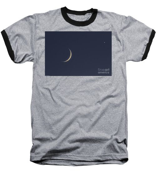 Baseball T-Shirt featuring the photograph Crescent Moon And Venus by Mitch Shindelbower