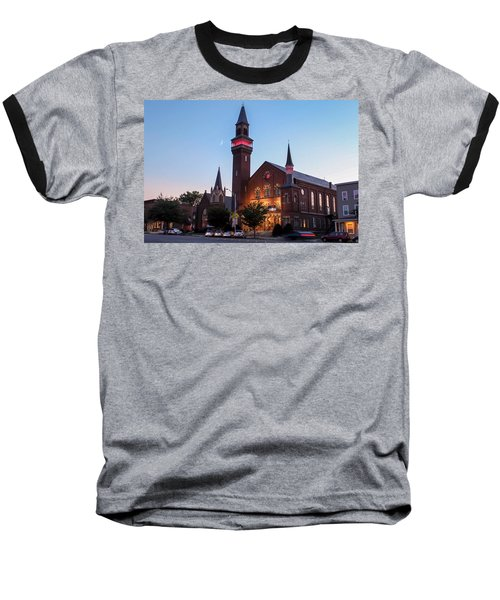 Crescent Moon Over Old Town Hall Baseball T-Shirt