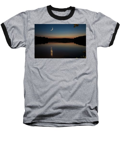 Crescent Moon Set At Lake Chesdin Baseball T-Shirt
