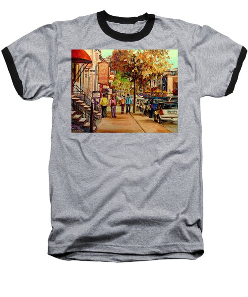 Baseball T-Shirt featuring the painting Crescent Street Montreal by Carole Spandau