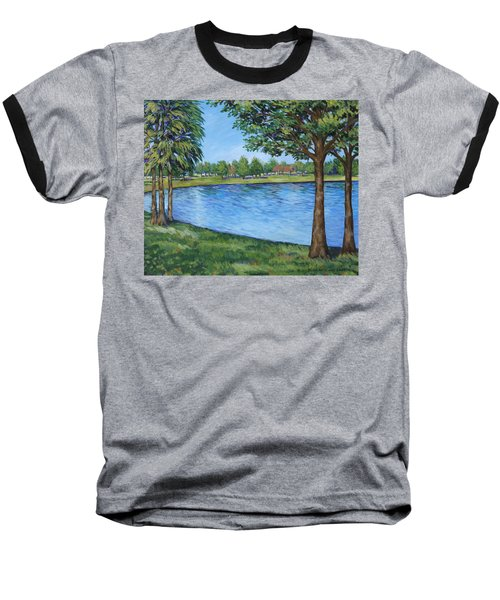 Baseball T-Shirt featuring the painting Crest Lake Park by Penny Birch-Williams