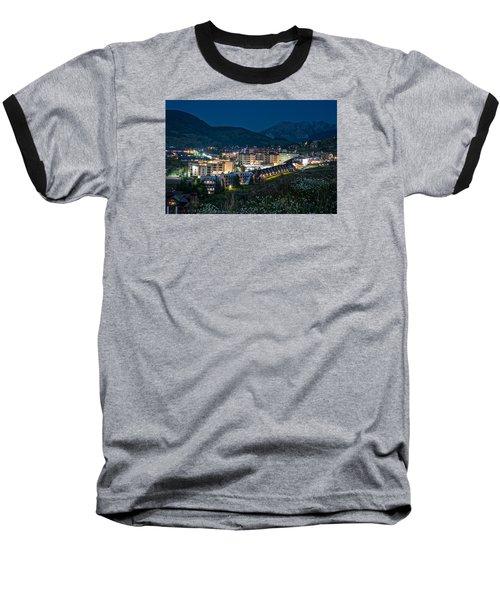 Crested Butte Village Under Full Moon Baseball T-Shirt by Michael J Bauer