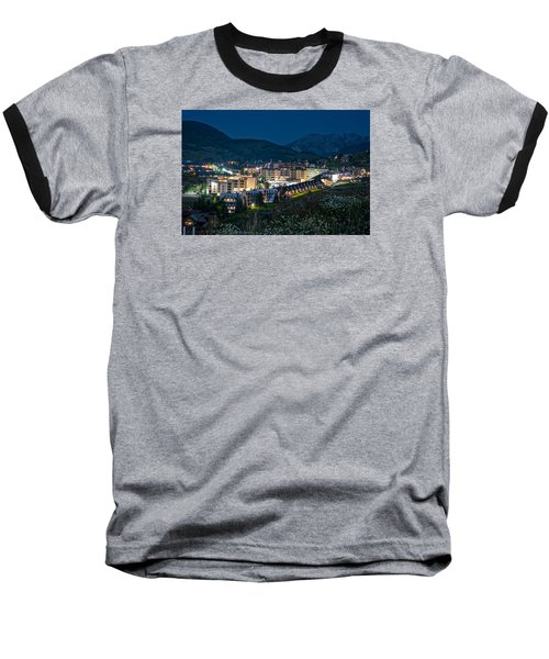 Crested Butte Village Under Full Moon Baseball T-Shirt