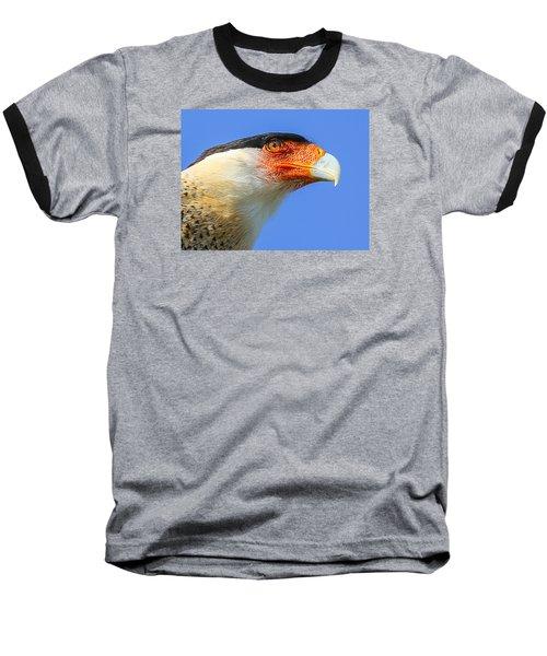 Crested Caracara Face Baseball T-Shirt