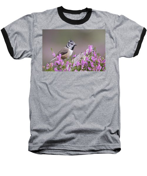 Crested Tit In Heather Baseball T-Shirt