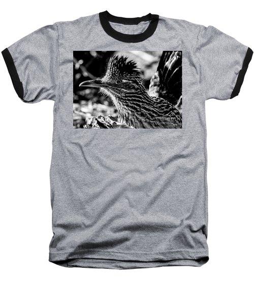 Cresting Roadrunner, Black And White Baseball T-Shirt