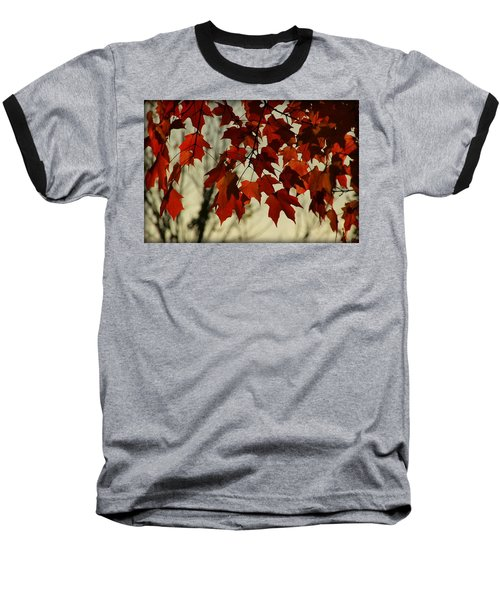 Baseball T-Shirt featuring the photograph Crimson Red Autumn Leaves by Chris Berry