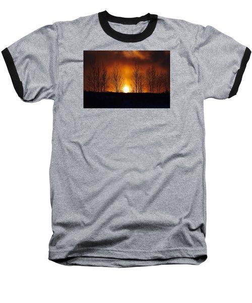Crisp Sunset Baseball T-Shirt by Dacia Doroff